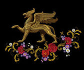Golden textured embroidery griffin textile patch design Fashion decoration ornament fabric print Gold black background legendary mythic fairy baroque flower character lion eagle vector illustration