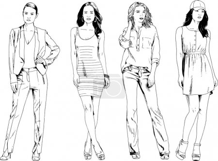 Photo for Vector drawings on the theme of beautiful slim sporty girl in casual clothes in various poses painted ink hand sketch with no background - Royalty Free Image