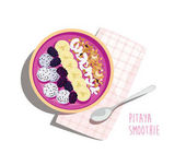 Pitaya smoothie breakfast bowl with toppings