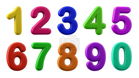Photo for Colorful numbers, plasticine in different colours, isolated on white, 3d illustration - Royalty Free Image