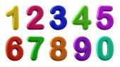 Colorful numbers, plasticine in different colours,  3d illustrat
