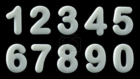 White glossy numbers,  3d illustration