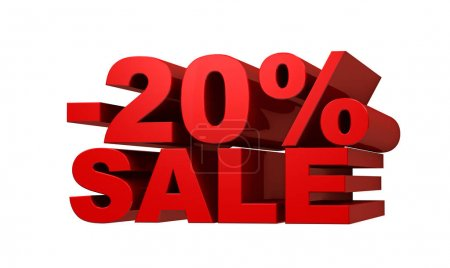 Red letters -20 SALE, discount concept, 3d illustration