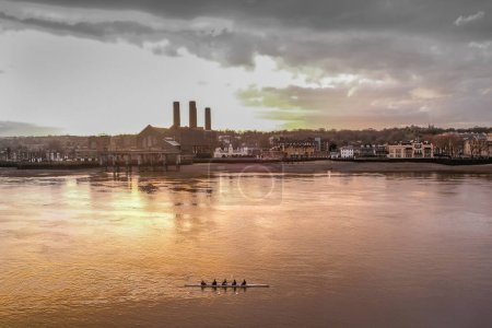 Rowers on the River Thames at Greenwich, London
