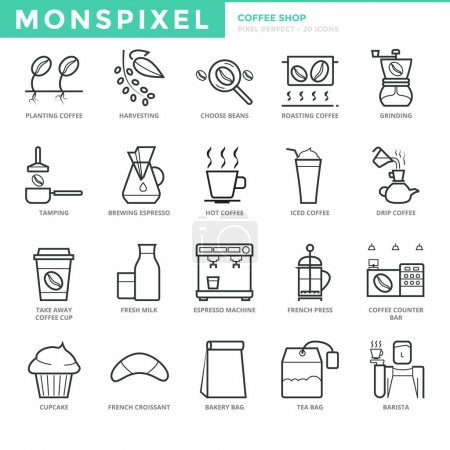 Flat thin line Icons set of Coffee Shop