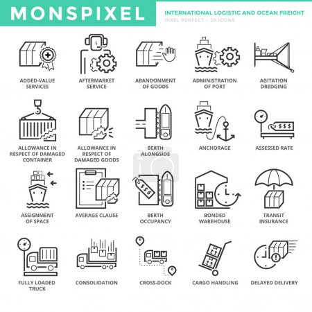 Flat thin line Icons set of International Logistic and Ocean Freight