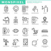 Flat thin line Icons set of Modern Technology