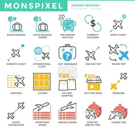 Illustration pour Icônes de ligne mince plat ensemble de services de l'aéroport. Pixel icônes parfaites. Concept simple de logo vectoriel de course de paquet de pictogramme linéaire mono pour des graphiques Web - image libre de droit