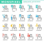 Flat thin line Icons set of Career Avatar about Art and Design  for Web Development
