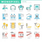 Flat thin line Icons set of City life