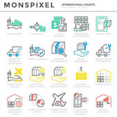 Flat thin line Icons set of International Logistic