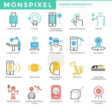 Flat thin line Icons set of Modern Technology