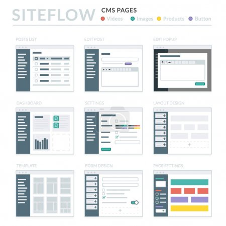 Illustration pour Site Internet filaire Layouts Ui Kits pour plan du Site et conception Ux - image libre de droit
