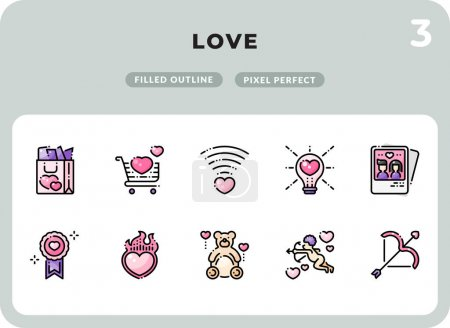 Illustration for Love Filled Icons Pack for UI. Pixel perfect thin line vector icon set for web design and website application - Royalty Free Image