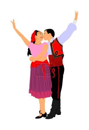 Illustration pour Couple amoureux embrasser et danser dans des robes folkloriques traditionnelles vecteur isolé sur blanc. Balkan Dancers, danse folklorique en Europe de l'Est. Proximité en public. Garçon embrasser fille, tendresse. Culture balkanique . - image libre de droit