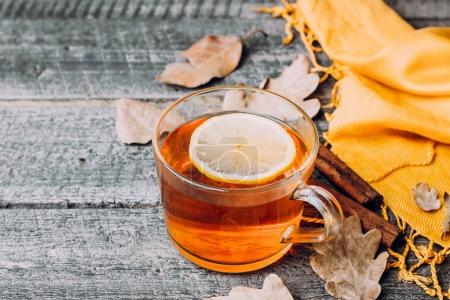 Cup of tea with lemon and cinnamon sticks