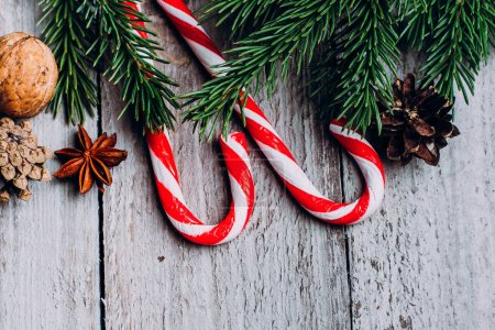 Christmas background with candy sticks