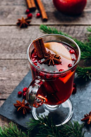 Mulled wine In glass with spices