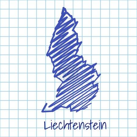 Map of Liechtenstein, blue sketch abstract background