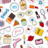 background with fashion accessories patches