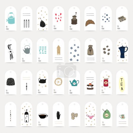 Illustration pour Jeu d'étiquettes cadeaux, illustration vectorielle - image libre de droit