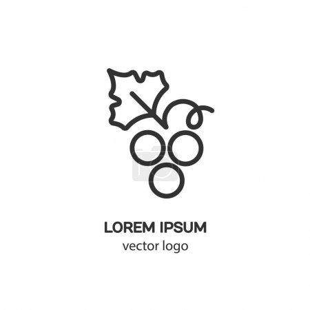 Line style logotype with grapes