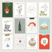 Collection of 12 Christmas card templates Christmas Posters set Vector illustration Template for Greeting Scrapbooking Stickers Diary Congratulations Invitations
