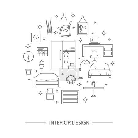 Illustration for Modern designer work space, linear style. Living room vector illustration - Royalty Free Image