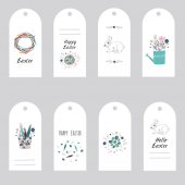 Easter gift tags and labels with cute flowers eggs and rabbits vector illustration