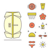 Vector Set of Sun Tanning Icons isolated on a white background