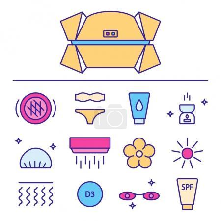 sunbathing icons set