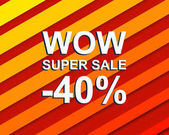 Red striped sale poster with WOW SUPER SALE MINUS 40 PERCENT text Bright advertising  banner template
