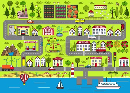 Cartoon urban background. Road play mat for kids entertainment