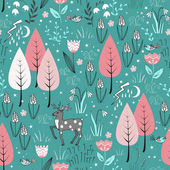 Spring pattern with deer, birds, flowers, and trees in blossom. Gentle spring forest background