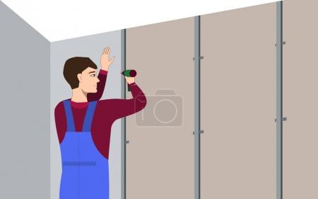 Illustration for Man with hand electric drill make renovation indoor. Builder makes gypsum plasterboard wall - Royalty Free Image