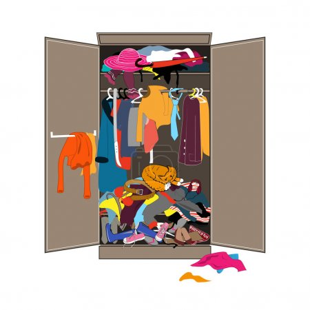 Illustration for Untidy open woman wardrobe. Closet with piles of messy clothes and the sleeping cat. Home mess interior. Funny flat design vector illustration. - Royalty Free Image