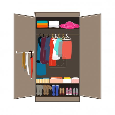 Open wardrobe with tidy clothes. Home interior. Flat design vector illustration.