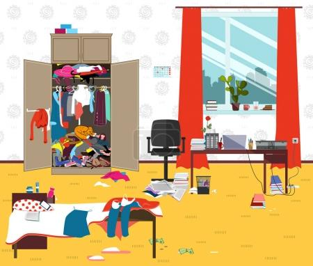 Illustration for Messy room where young lady lives. Teenager or student girl untidy room in the morning. Cartoon mess in the room. Funny vector illustration - Royalty Free Image