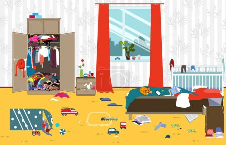 Illustration for Messy room where young family with little baby lives. Untidy room. Cartoon mess in the room. Uncollected toys, things. Cleaning illustration. Vector - Royalty Free Image