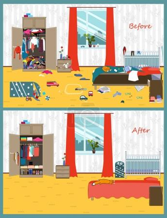 Illustration for Dirty and clean room where the young couple and thair child live. Disorder in the interior. Room before and after cleaning. Flat style vector illustration. - Royalty Free Image