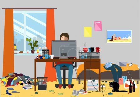 Illustration for Illustration of a Disorganized Room Littered With Pieces of Trash. Room where young I.T. Guy, Bachelur or Student lives. Vector messy room - Royalty Free Image