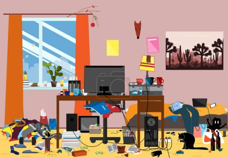 Illustration for Illustration of a Disorganized Room Littered With Pieces of Trash. Chaotic room where young I.T. Guy, Bachelur or Student lives. Vector messy room - Royalty Free Image