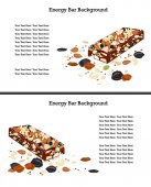 Healthy crunchy granola and nuts bar over white background Text space
