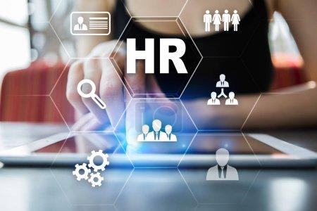Photo pour Gestion des ressources humaines, ressources humaines, recrutement, leadership et teambuilding. Concept d'affaires et de la technologie - image libre de droit