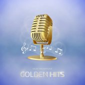 Golden  old vintage microphone icon Radio station banner