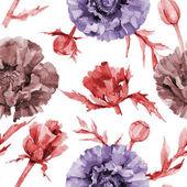 Wildflower poppy flower pattern in a watercolor style.