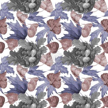 Photo pour Feuille d'automne de motif peuplier dans un style aquarelle dessiné à la main. Feuille Aquarelle de peuplier pour fond, texture, motif enveloppant, cadre ou bordure . - image libre de droit