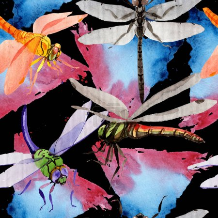 Exotic dragonfly wild insect pattern in a watercolor style.