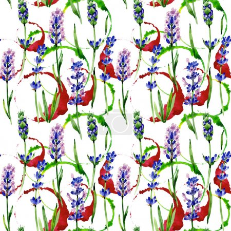 Wildflower lavender flower pattern in a watercolor style.