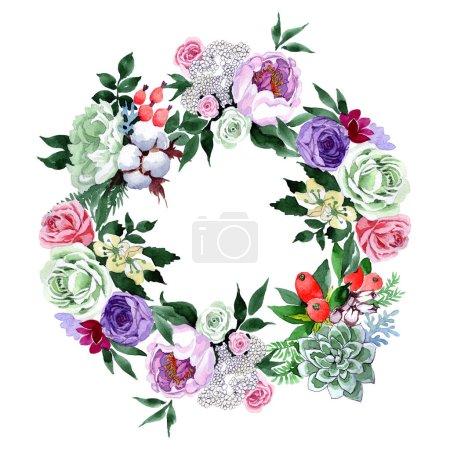 Bouquet flower wreath in a watercolor style.
